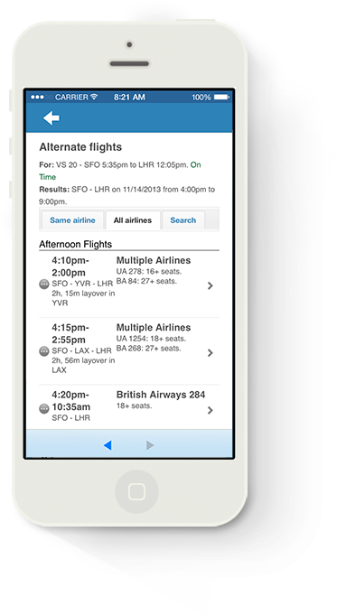 Image of Alternate Flight Suggestions for iPhone